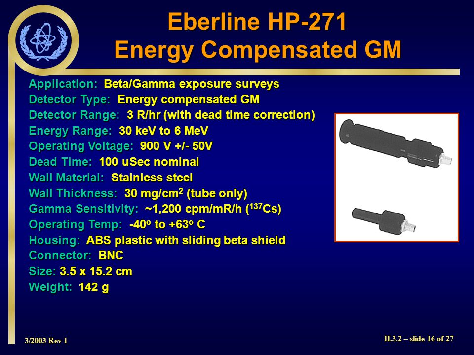 Eberline HP-271 Energy Compensated GM