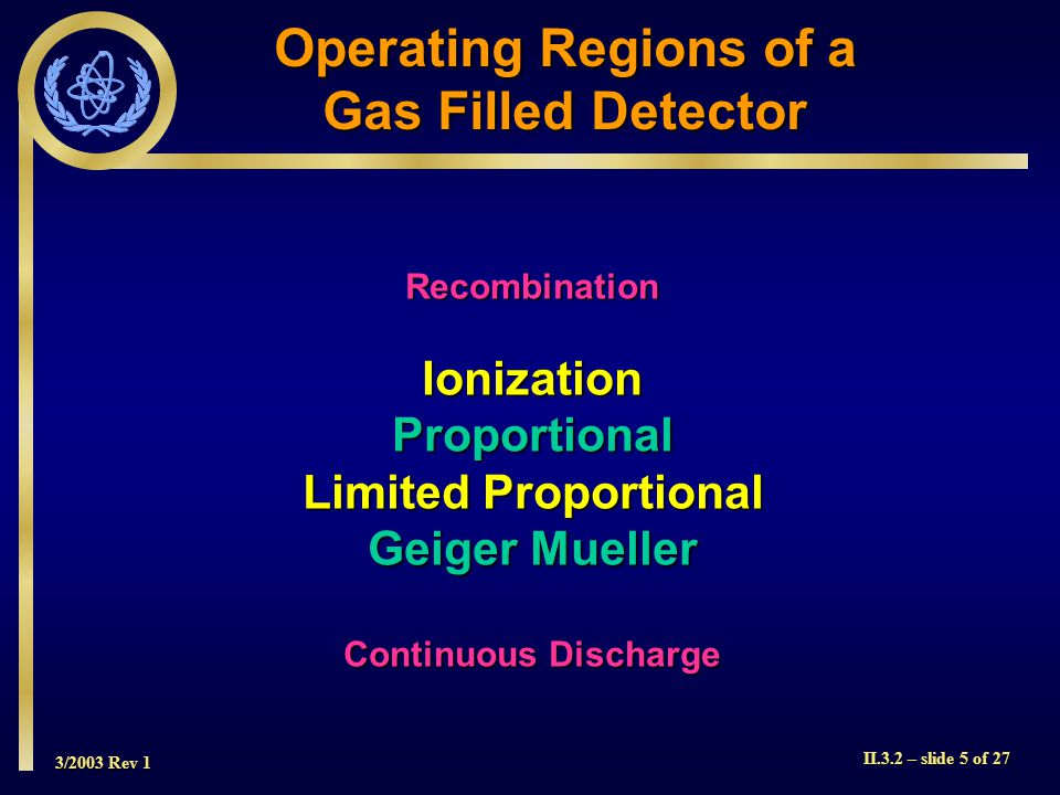 Operating Regions of a Gas Filled Detector