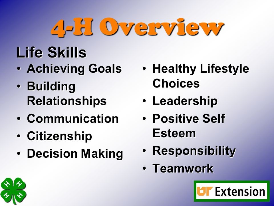 4-H Overview Life Skills Achieving Goals Building Relationships