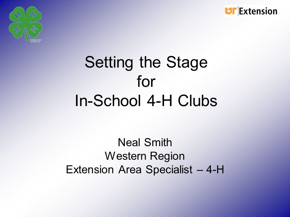 Setting the Stage for In-School 4-H Clubs