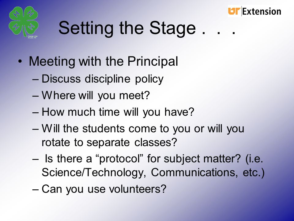 Setting the Stage . . . Meeting with the Principal