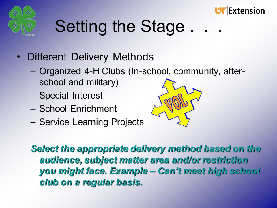 Setting the Stage . . . Different Delivery Methods