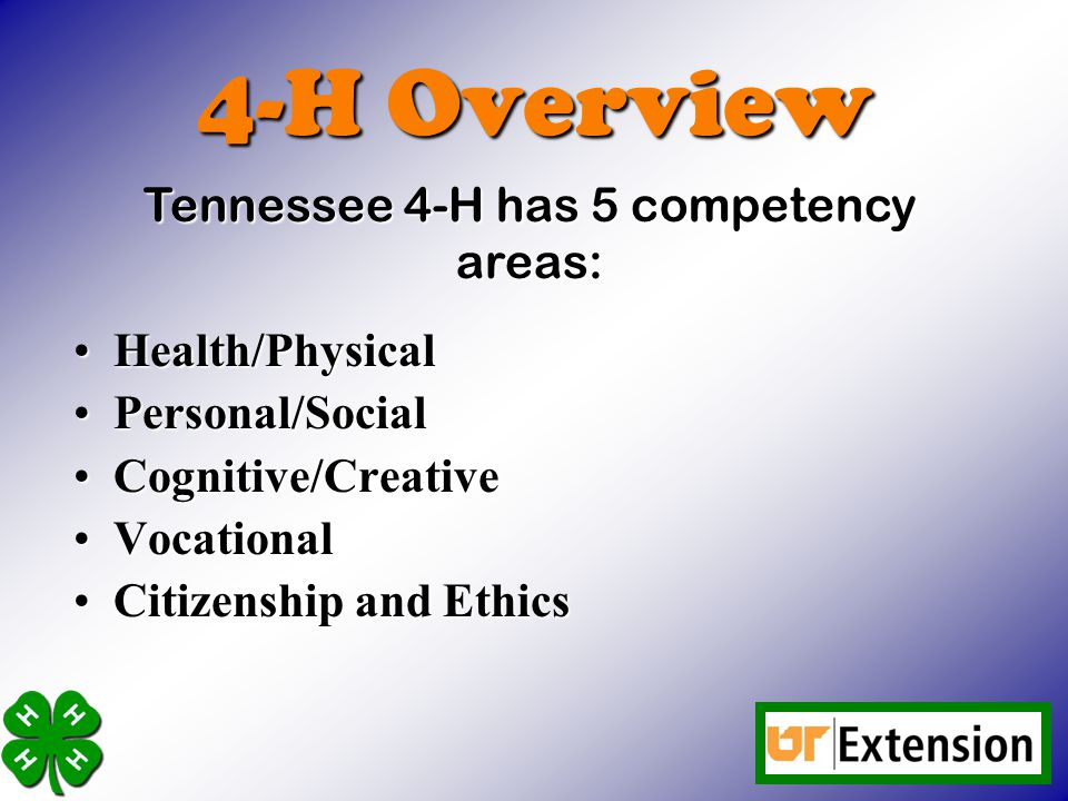 Tennessee 4-H has 5 competency areas: