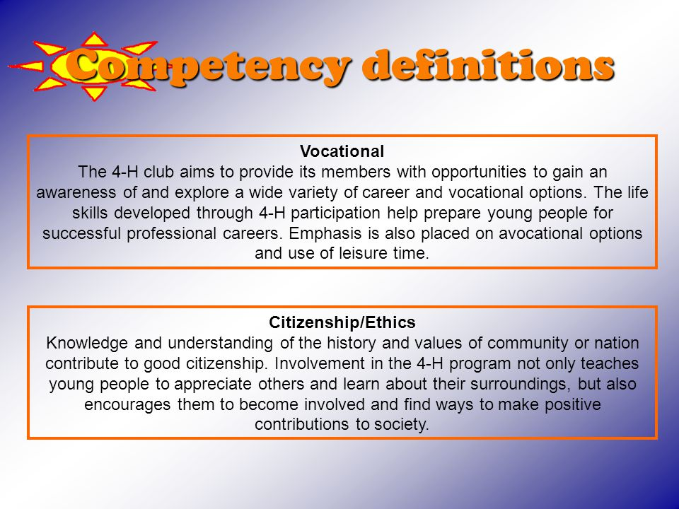 Competency definitions