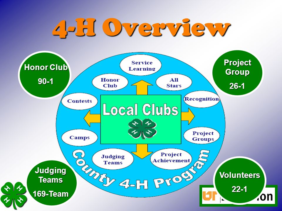4-H Overview Project Group 26-1 Honor Club 90-1 Judging Teams 169-Team