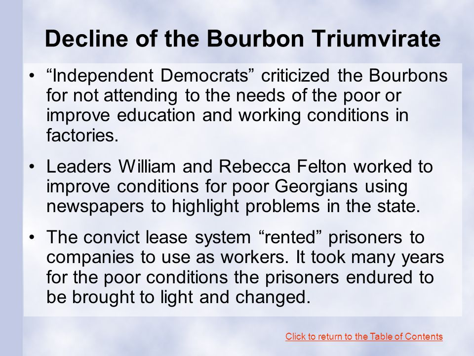 Decline of the Bourbon Triumvirate