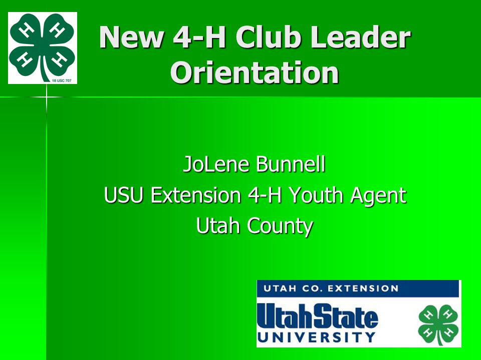 New 4-H Club Leader Orientation