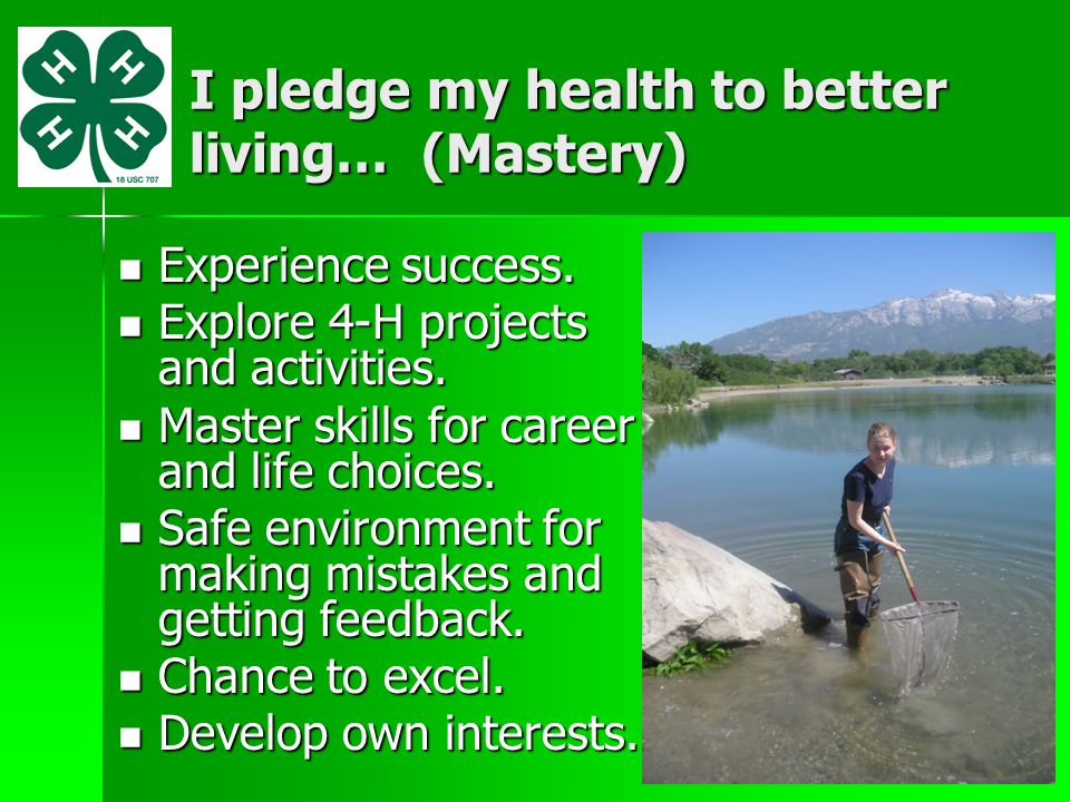 I pledge my health to better living… (Mastery)