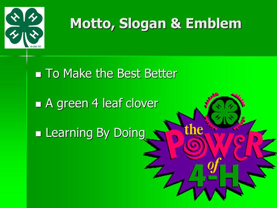Motto, Slogan & Emblem To Make the Best Better A green 4 leaf clover