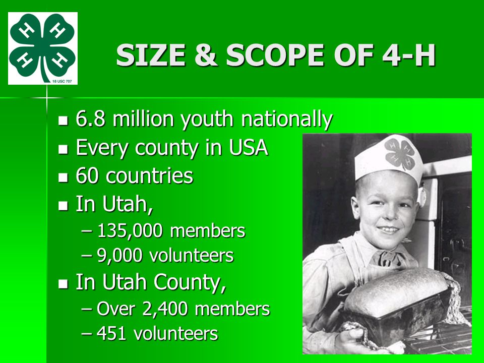 SIZE & SCOPE OF 4-H 6.8 million youth nationally Every county in USA