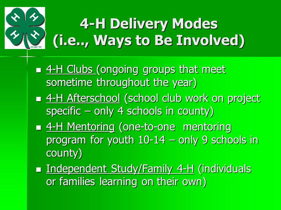 4-H Delivery Modes (i.e.., Ways to Be Involved)