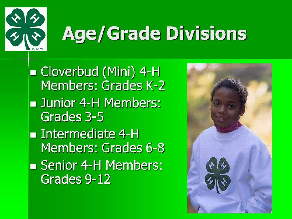 Age/Grade Divisions Cloverbud (Mini) 4-H Members: Grades K-2