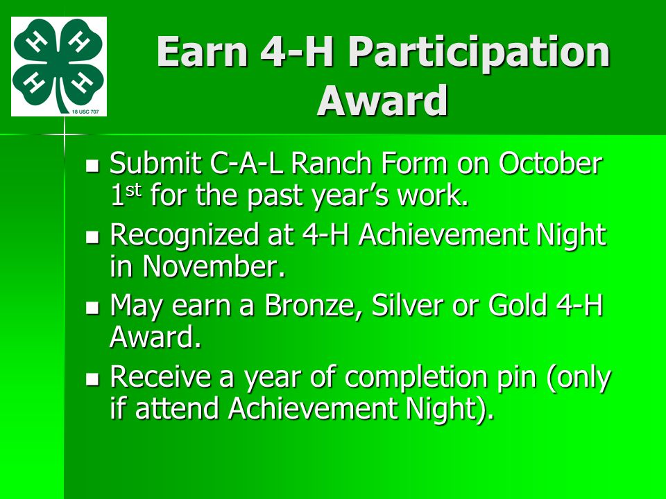 Earn 4-H Participation Award