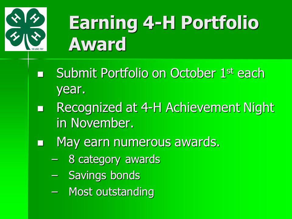 Earning 4-H Portfolio Award