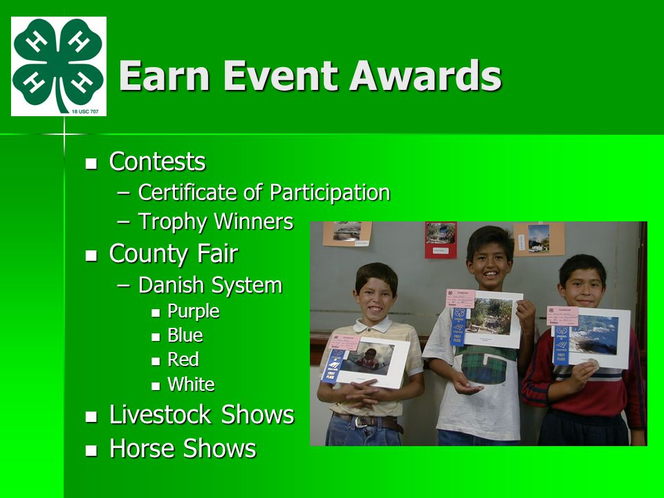 Earn Event Awards Contests County Fair Livestock Shows Horse Shows