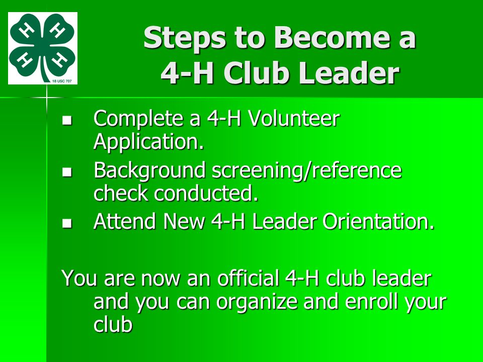 Steps to Become a 4-H Club Leader