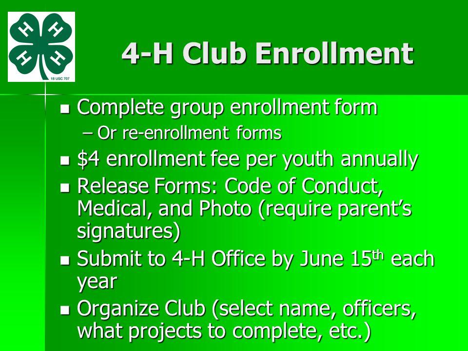 4-H Club Enrollment Complete group enrollment form