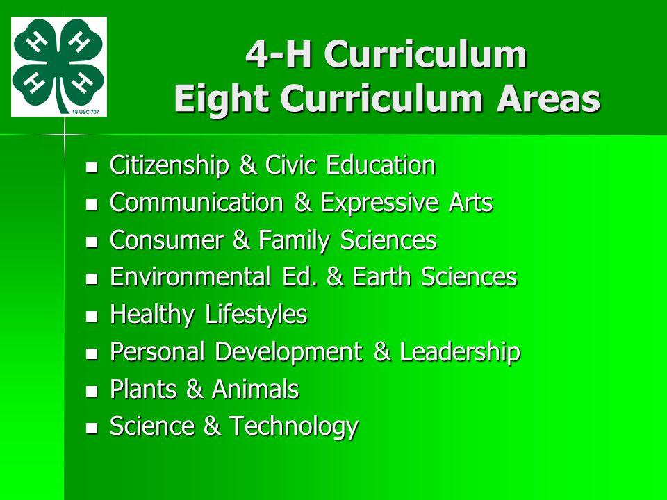 4-H Curriculum Eight Curriculum Areas