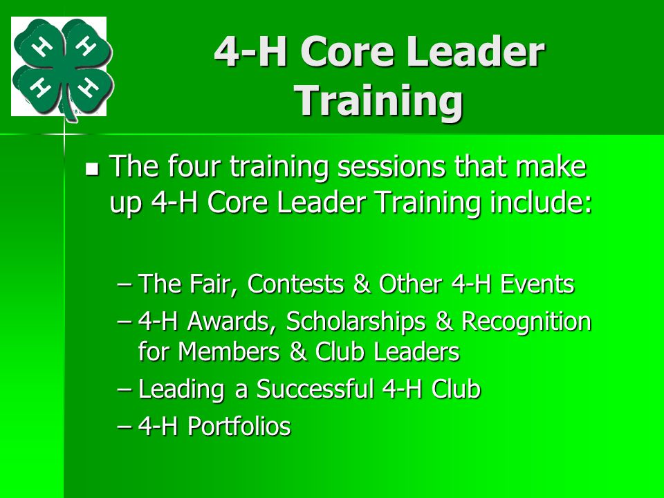4-H Core Leader Training
