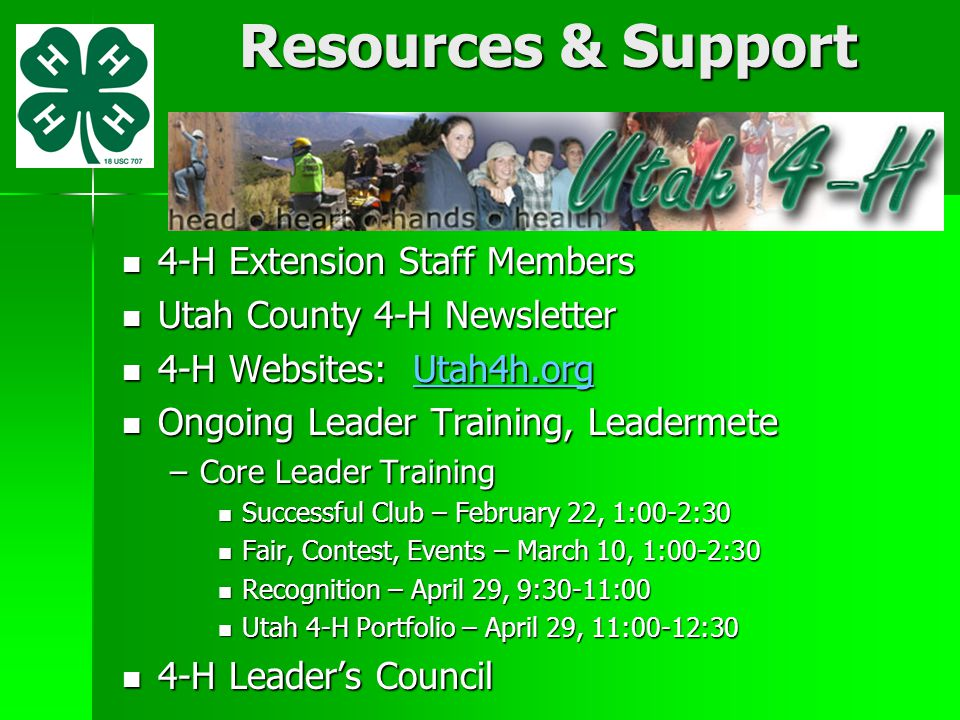 Resources & Support 4-H Extension Staff Members