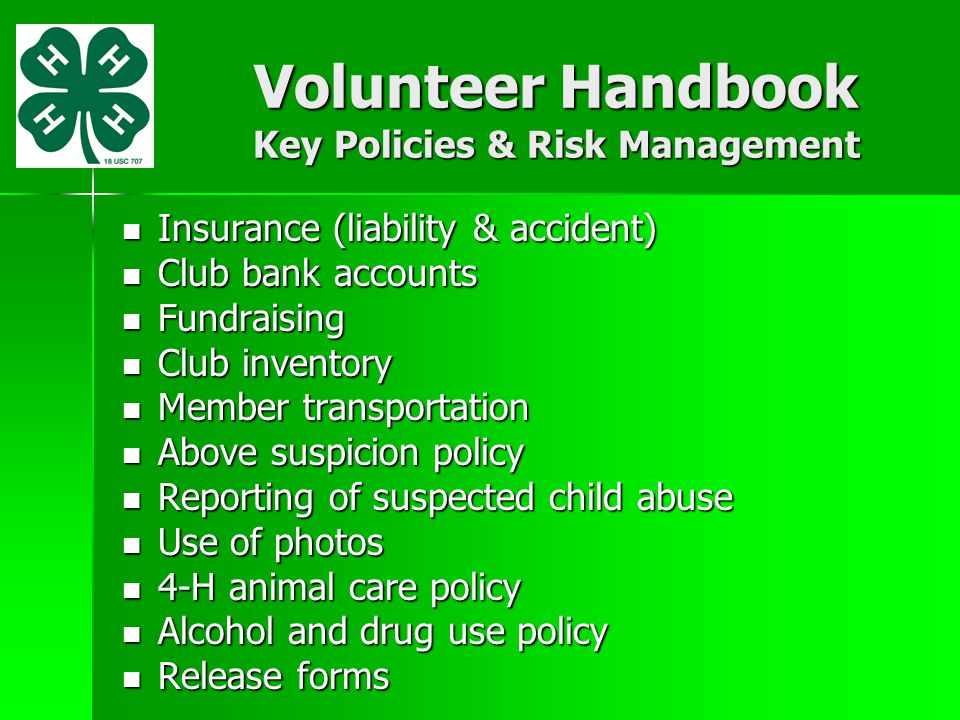 alcohol and drug abuse policy template - new 4 h club leader orientation ppt video online download