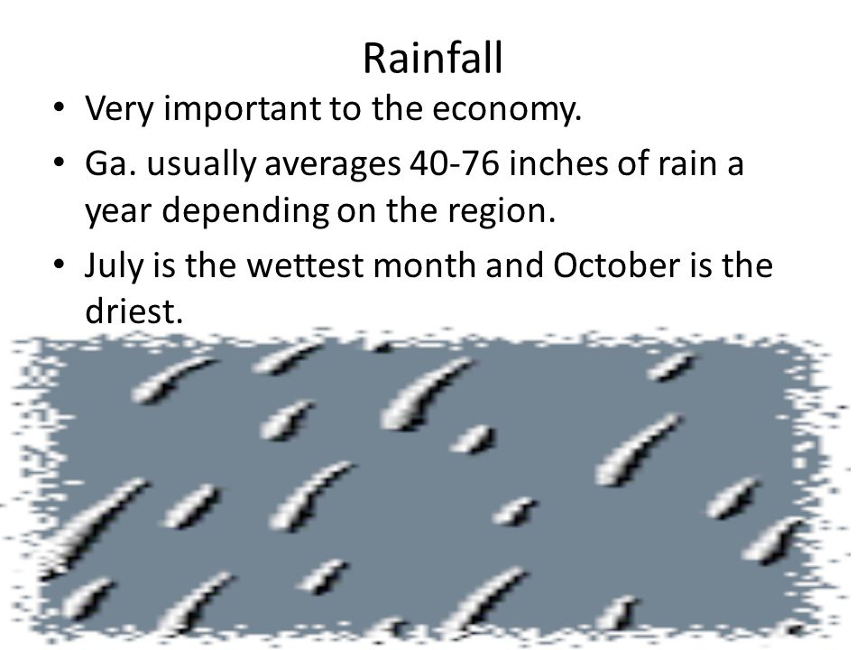 Rainfall Very important to the economy.