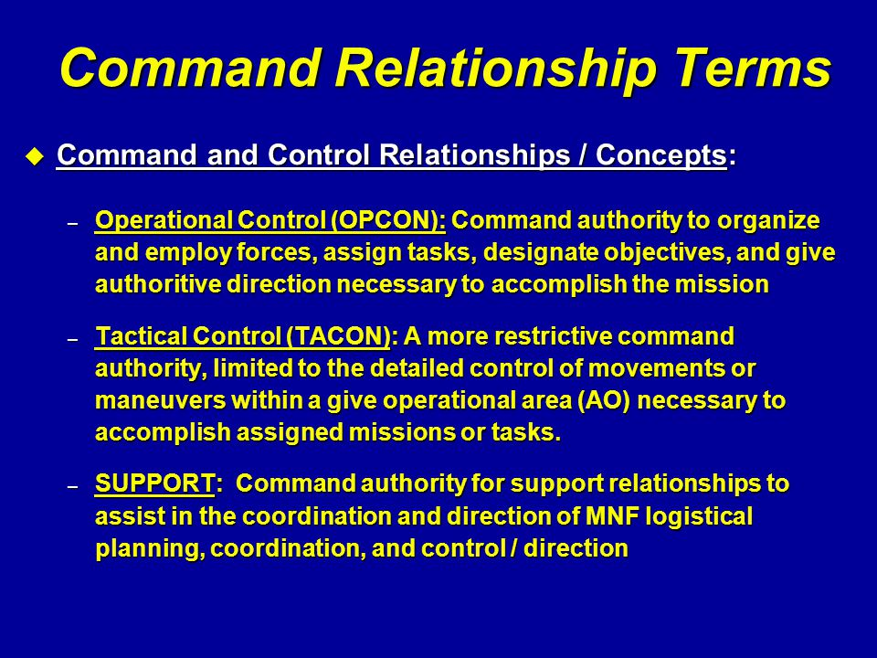 Command Relationship Terms