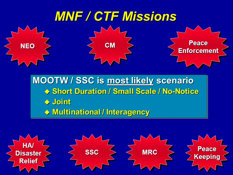 MNF / CTF Missions MOOTW / SSC is most likely scenario