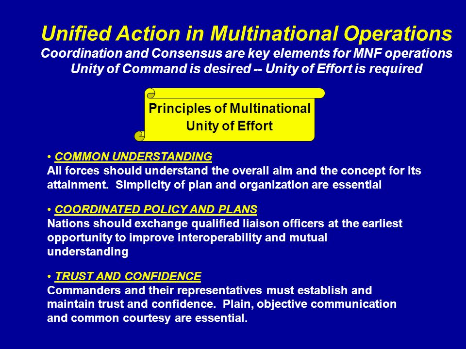 Unified Action in Multinational Operations