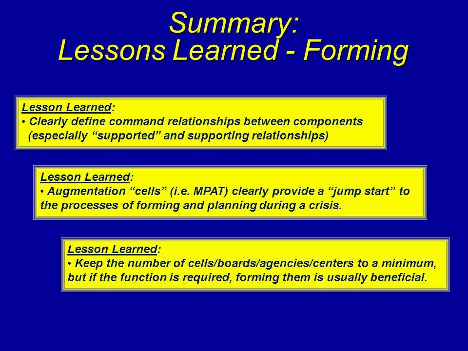 Summary: Lessons Learned - Forming