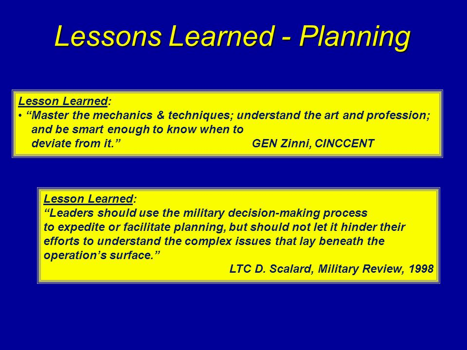 Lessons Learned - Planning