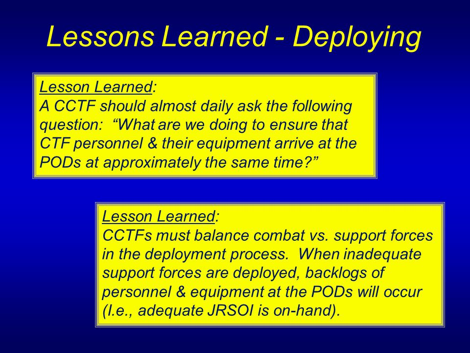 Lessons Learned - Deploying