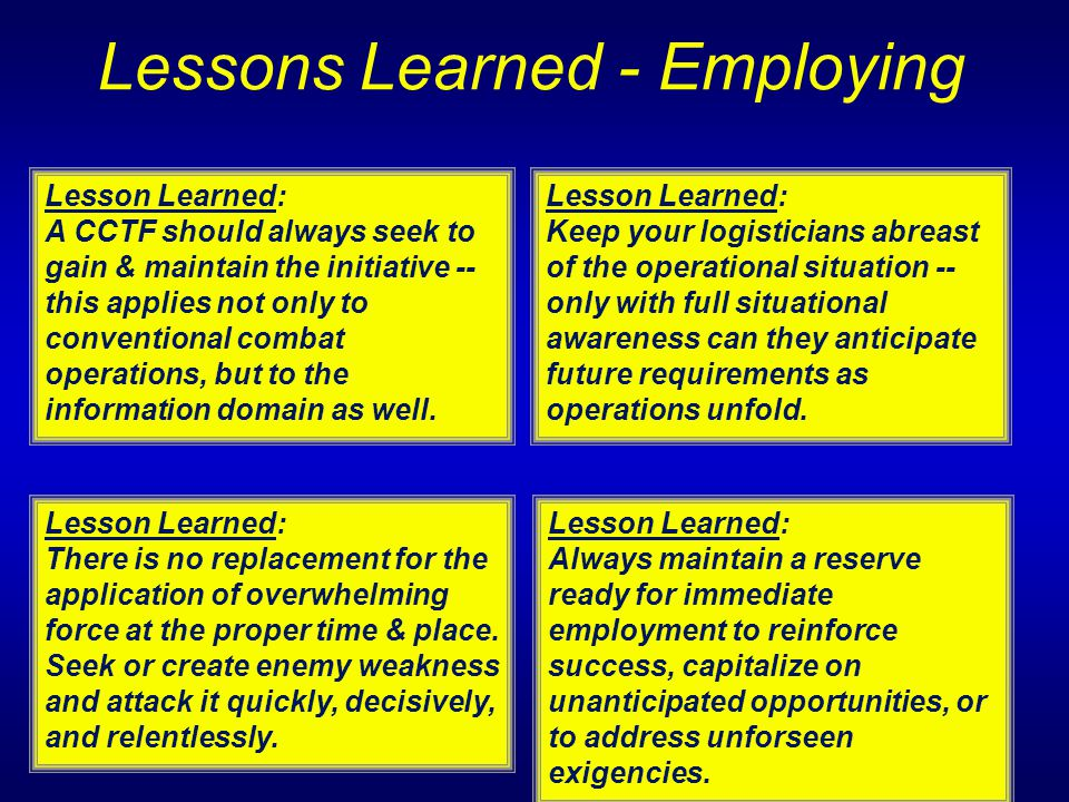 Lessons Learned - Employing