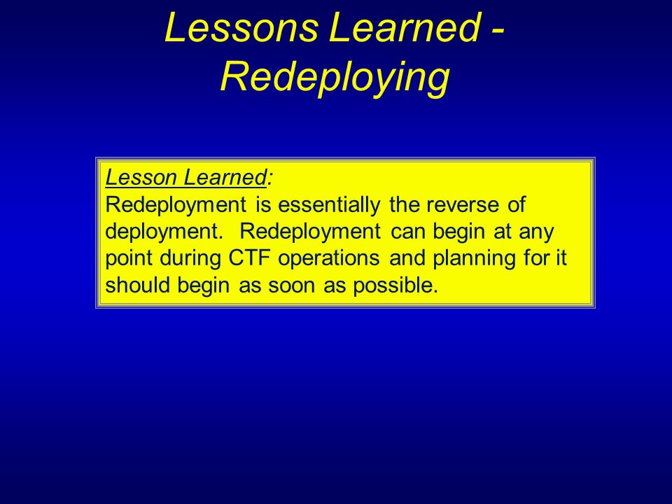 Lessons Learned - Redeploying