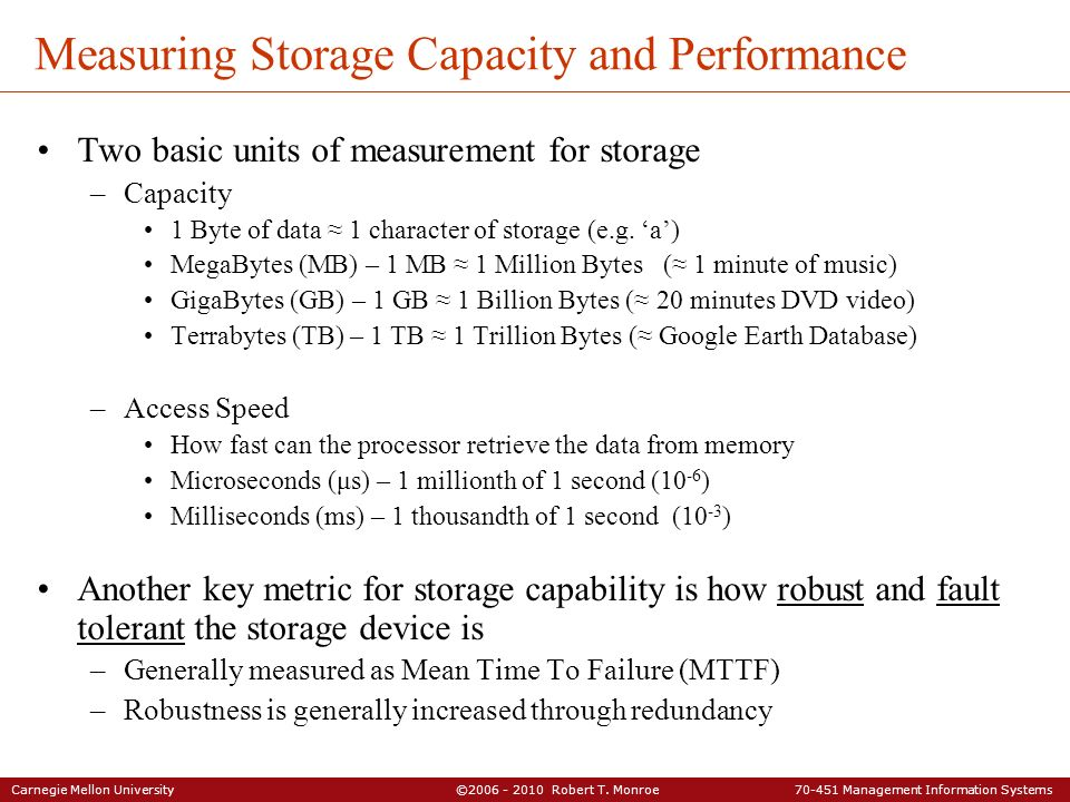 Measuring Storage Capacity and Performance