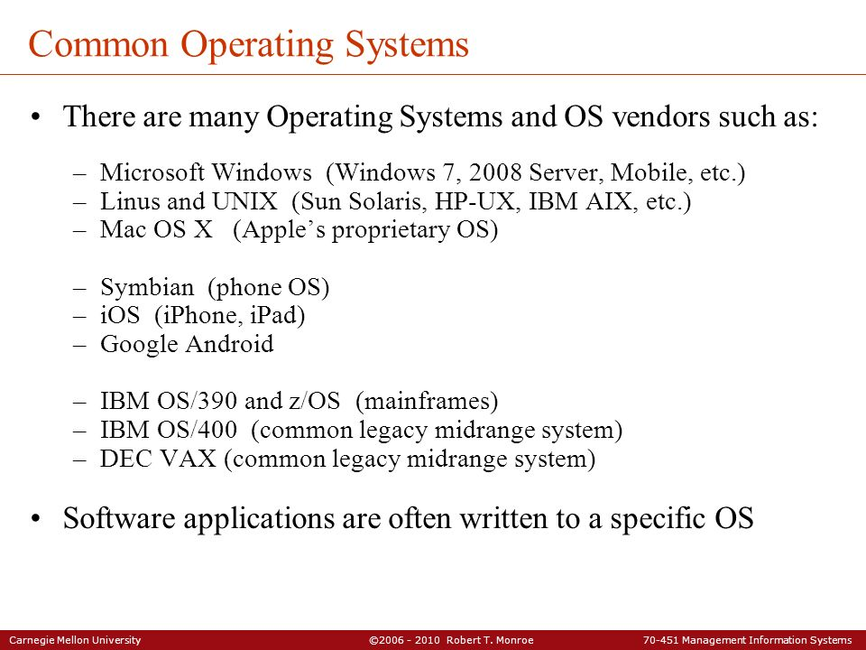 Common Operating Systems