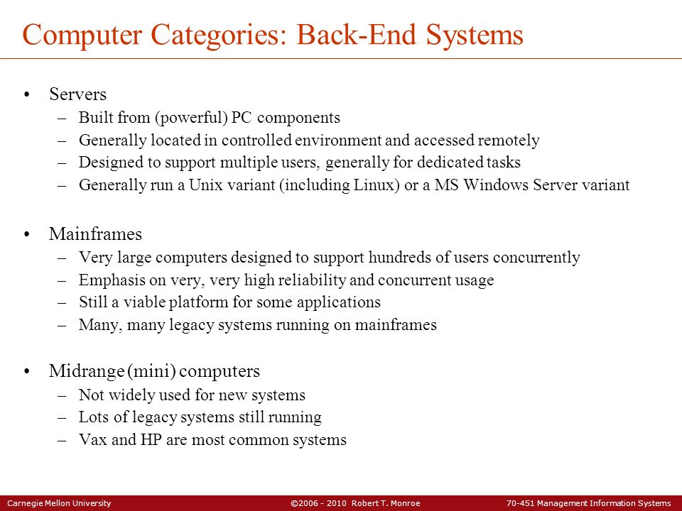 Computer Categories: Back-End Systems