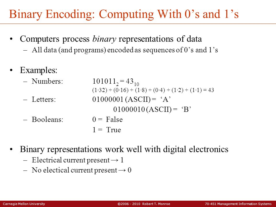 Binary Encoding: Computing With 0's and 1's