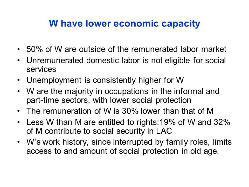 W have lower economic capacity