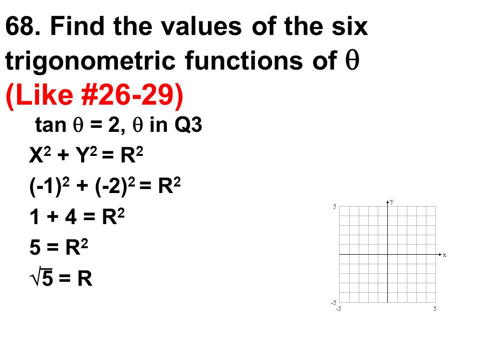 68. Find the values of the six trigonometric functions of  (Like #26-29)