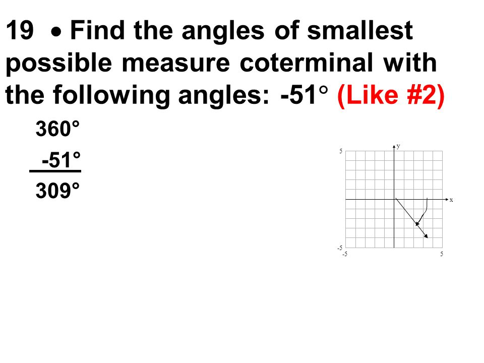 19  Find the angles of smallest possible measure coterminal with the following angles: -51 (Like #2)