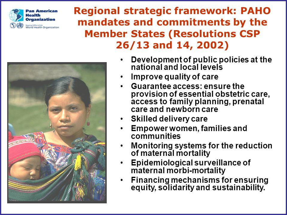 Regional strategic framework: PAHO mandates and commitments by the Member States (Resolutions CSP 26/13 and 14, 2002)