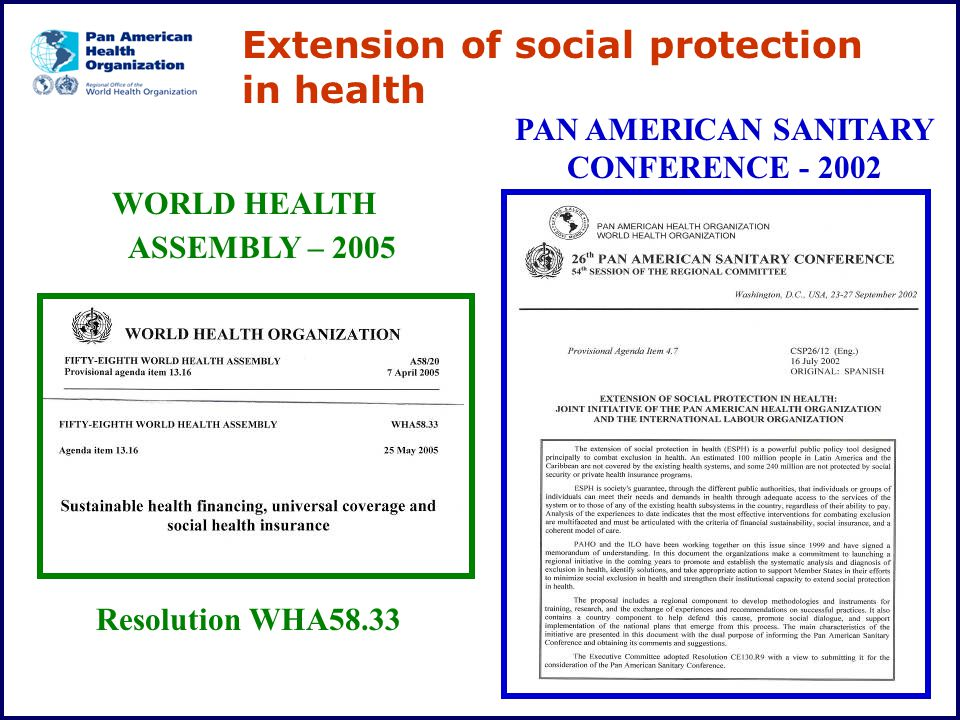 PAN AMERICAN SANITARY CONFERENCE - 2002 WORLD HEALTH ASSEMBLY – 2005