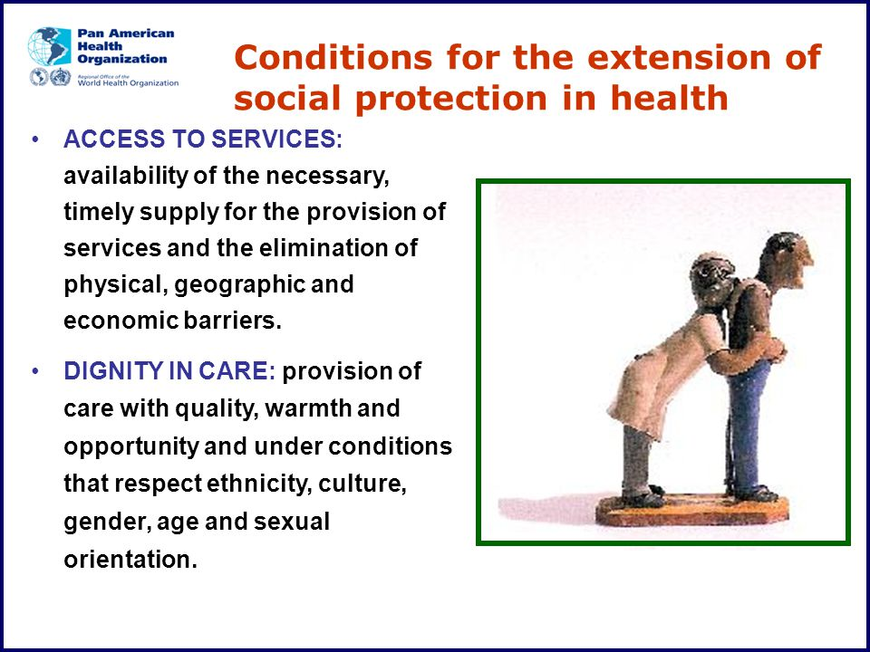 Conditions for the extension of social protection in health