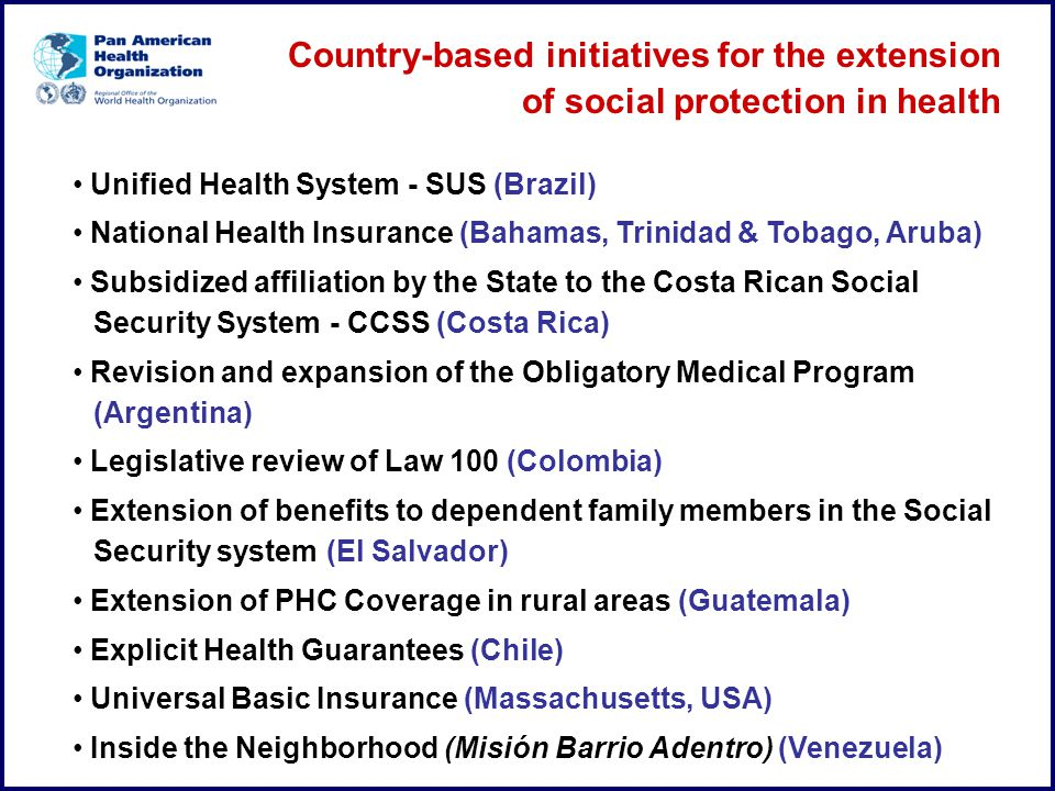 Country-based initiatives for the extension of social protection in health