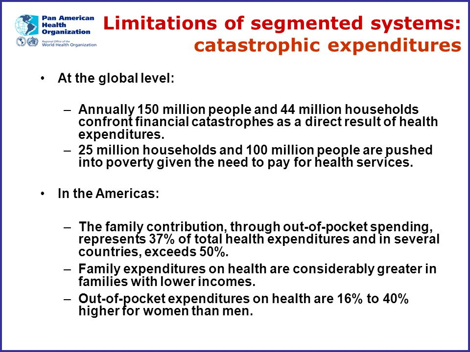 Limitations of segmented systems: catastrophic expenditures