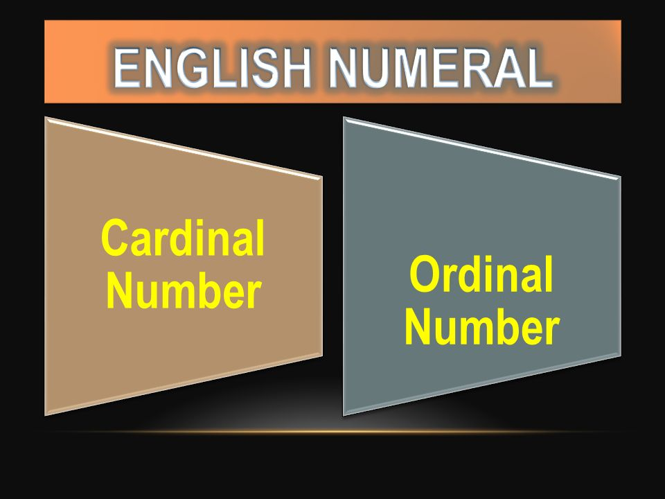 ENGLISH NUMERAL Cardinal Number Ordinal Number
