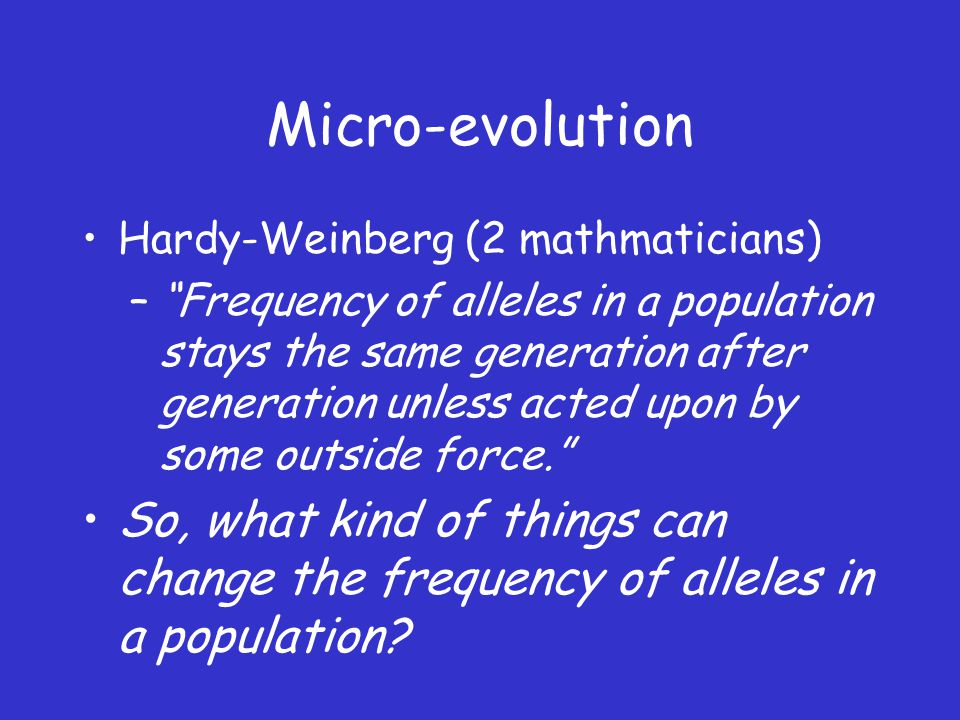 Micro-evolution Hardy-Weinberg (2 mathmaticians)