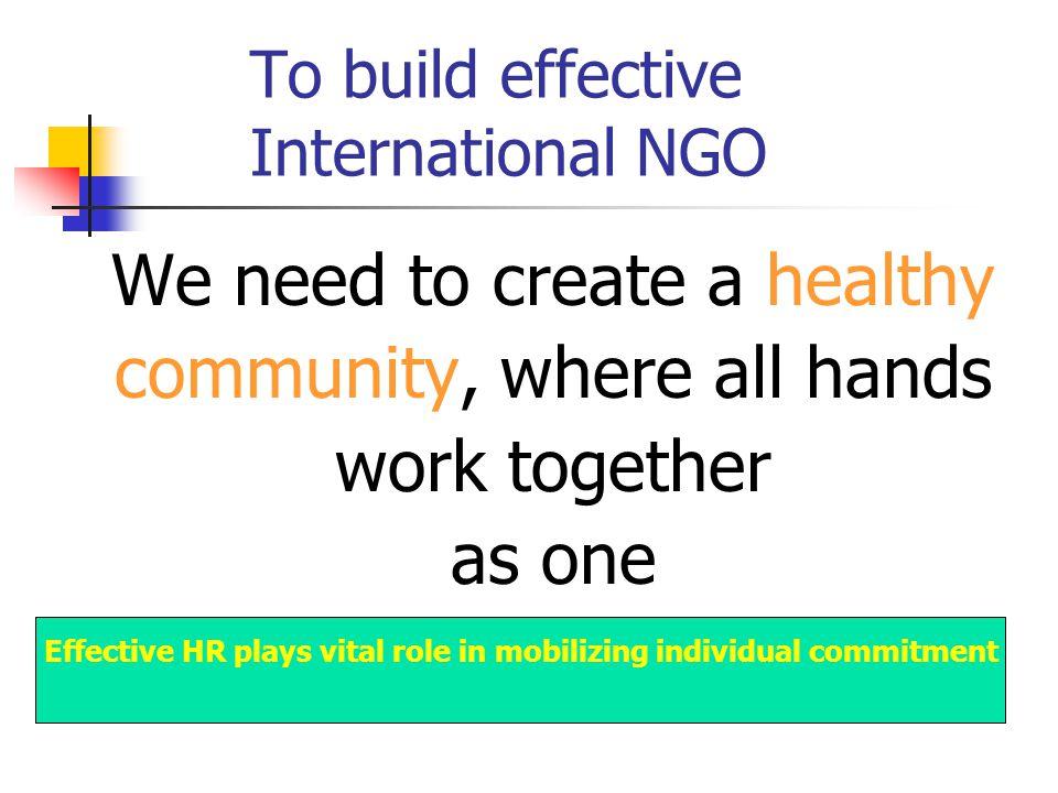 To build effective International NGO