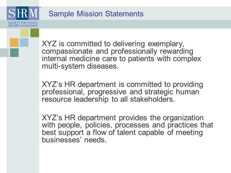 Sample Mission Statements